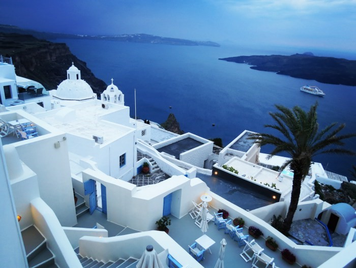 Early Morning at our hotel in Santorinin at Fira